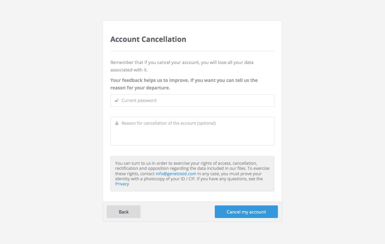 Edit account. Cancel account